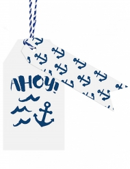 12 Etiquettes blanches et bleues Marin
