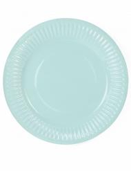 6 Petites assiettes en carton turquoise 18 cm