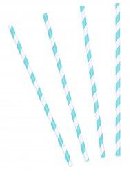 10 Pailles rayées bleu ciel 19,5 cm