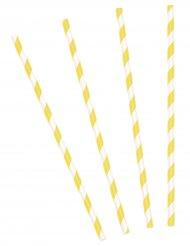 10 Pailles en carton rayées jaunes 19,5 cm