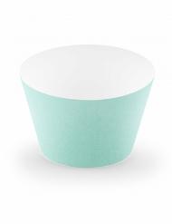 6 Caissettes à cupcake en carton turquoise 4,8 x 7,6 x 4,6 cm