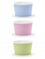6 Petits pots à glace couleurs pastel 170 ml