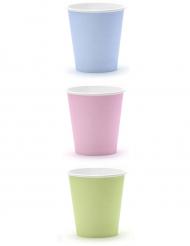 6 Gobelets en carton couleurs pastel 180 ml