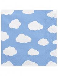 20 Serviettes en papier bleu Petits nuages blancs 33 x 33 cm