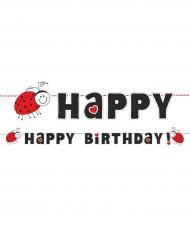 Bannière Happy Birthday Coccinelle rouge et noire 180 cm