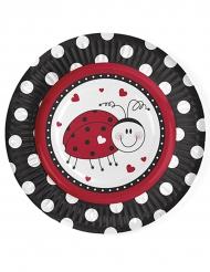 6 Petites assiettes en carton Coccinelle 18 cm