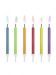 6 Bougies d'anniversaire flamme colorée 6 cm