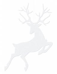 10 Suspensions en papier Renne de Noël blanc 9,4x14,5 cm