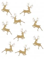 20 Confettis de table Renne de Noël dorés 2,3 x 3,6 cm