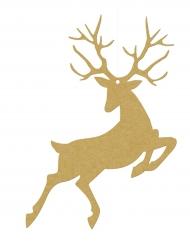 10 Suspensions en papier Renne de Noël doré 9,4 x 14,5 cm