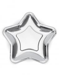 6 Petites assiettes en carton étoile métallique argenté 18 cm