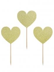6 Décorations pour gâteau sur pique Cœurs dorés pailletés 11 cm