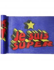 Chemin de table en tissu Super héros boy bleu 5 m x 30 cm