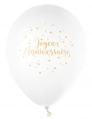 8 Ballons en latex Joyeux Anniversaire blanc et doré métallisé 23 cm