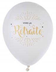 8 Ballons en latex Vive la Retraite blanc et or métallisé 23 cm