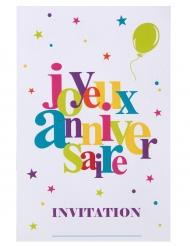 6 Cartes d'invitations Joyeux Anniversaire festif multicolore 11 x 17 cm