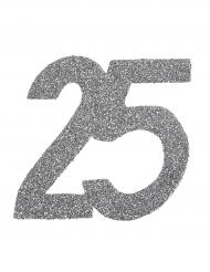 6 Confettis anniversaire 25 ans argent pailleté 6 x 5 cm