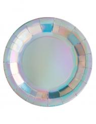10 Assiettes en carton iridescentes 22,5 cm