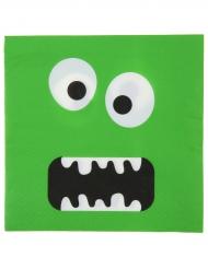 10 Serviettes en papier monstre vert rigolo 33 x 33 cm