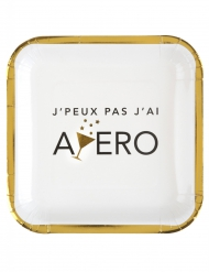 10 Assiettes carrées en carton J'peux pas j'ai Apéro blanc et doré 23 x 23 cm