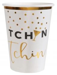 10 Gobelets en carton Tchin Tchin blanc et doré 7,8 x 9,7 cm