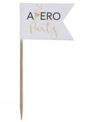 10 Piques Apéro Party blanc et doré 3,5 x 8 cm