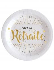 10 Assiettes en carton Vive la Retraite blanc et doré 22,5 cm