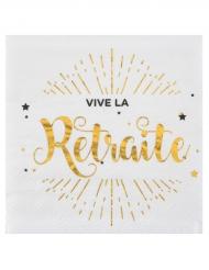 20 Petites serviettes en papier Vive la Retraite blanc et doré 25 x 25 cm
