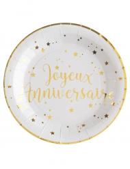 10 Assiettes en carton Joyeux Anniversaire métallisé blanc et doré 23 cm