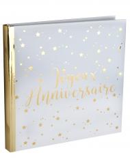 Livre d'or Joyeux Anniversaire métallisé blanc et doré 24 x 24 cm