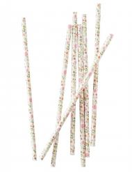 25 Pailles en carton Florales 19,5 cm