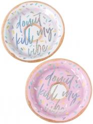 8 Assiettes en carton Donut iridescent 25 cm