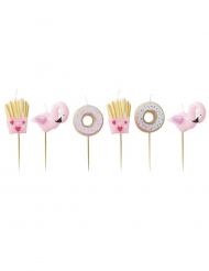 6 Bougies donuts, frites et flamants roses 4 cm