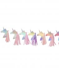 Guirlande en papier et tassel Licorne iridescente 1,5 m