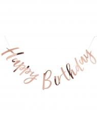Guirlande en lettres Happy Birthday rose gold métallisé 1,8 m