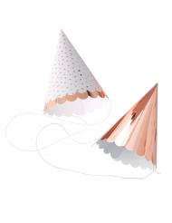 6 Chapeaux de fête à pois et rose gold métallisé 8 x 10,5 cm