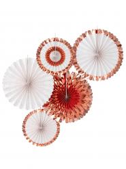 5 Rosaces à suspendre rose gold métallisé 38 cm et 28 cm