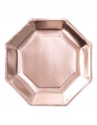 8 Assiettes en carton Rose gold métallisé octogonale 25 cm