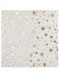 20 Petites serviettes en papier Etoiles rose gold métallisé 25 x 25 cm