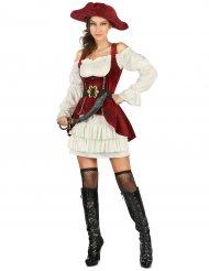 Déguisement pirate blanc et rouge femme