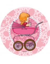 Disque en sucre Bébé poussette rose 21 cm
