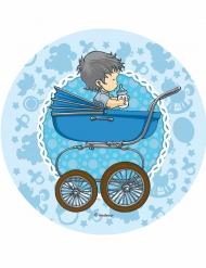 Disque en sucre Bébé poussette bleue 21 cm
