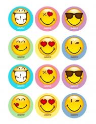 12 Décorations en sucre pour biscuits Smiley World ™ 5 x 8 cm