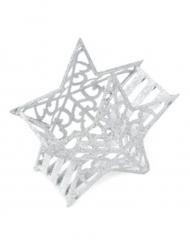 Contenant Etoile en métal pailleté blanc 10 cm