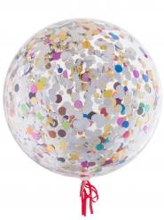 Ballon bulle transparent avec confettis multicolores 45 cm