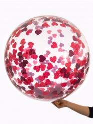 Ballon bulle transparent avec confettis coeurs 45 cm