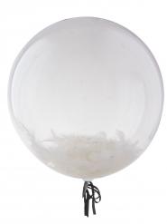 Ballon bulle transparent avec plumes blanches 45 cm
