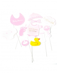Kit Photobooth Baby Shower fille 11 accessoires