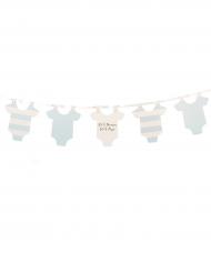 Guirlande fanions Body bébé ciel et blanc 1,90 m