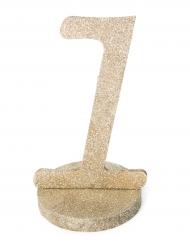 Centre de table chiffre 1 bois pailleté champagne 20 cm